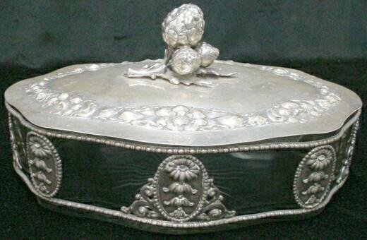 9: German 19C .800 Continental Silver Crystal Art Nouve