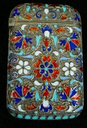 17: Antique Russian Sterling Silver Enamel Matchsafe. S