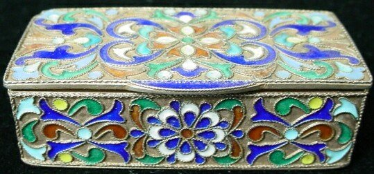 18: 19C Russian Sterling Silver Champleve Enamel Box. S