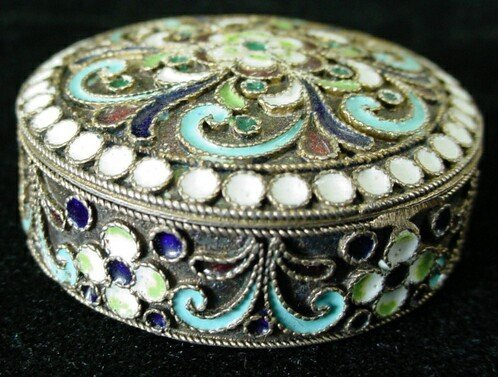 19: 19C Russian Sterling Silver Champleve Enamel Round