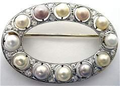 85 Edwardian Diamond Platinum Circle Pin w Gold Clasp