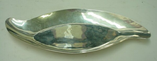 504: Mexican Sterling Silver Teardrop Shape Candy Dish.