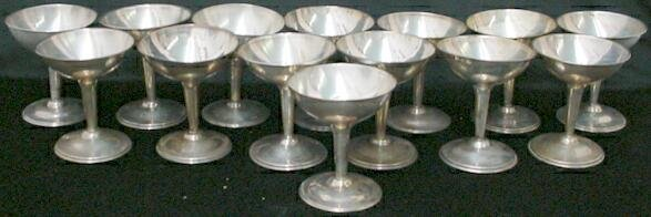 521: Set of 15 RM SNR Mexican Sterling Champagne Goblet