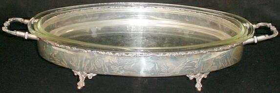 523: Mexican Sterling Silver Footed Cassarole Serving T