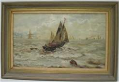 654 American School OC Sailboat with Rowboat Busy Har