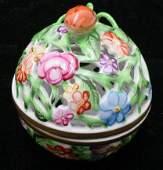 695 Herend Porcelain Reticulated Covered Jar Signed H