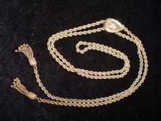 724 Vintage 14Kt Gold Slide Rope Necklace Tassels Sig