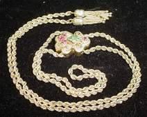 746 Vintage 14Kt Gold Slide Rope Necklace w Hanging T