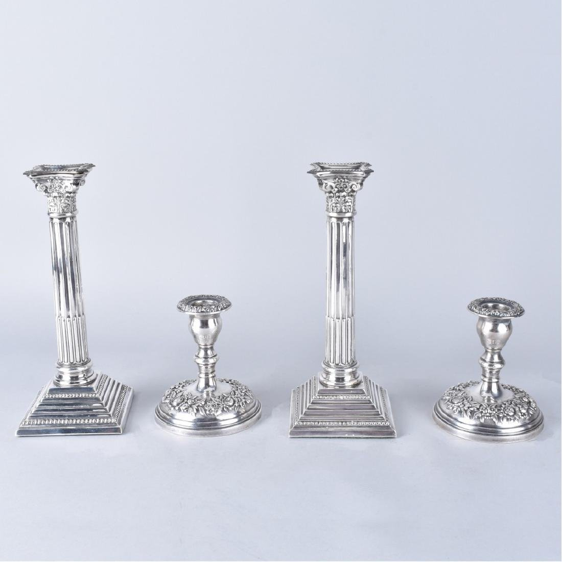 Two Pair Silver Candlesticks