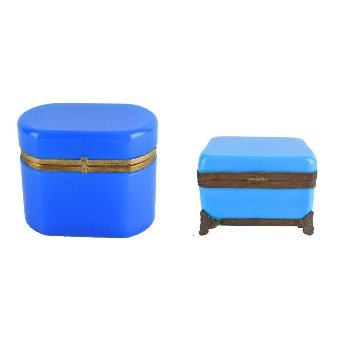 Two (2) Opaline Glass Boxes