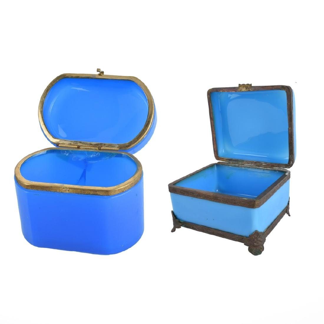 Two (2) Opaline Glass Boxes - 2