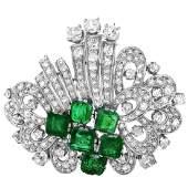 Art Deco Diamond and Emerald Brooch