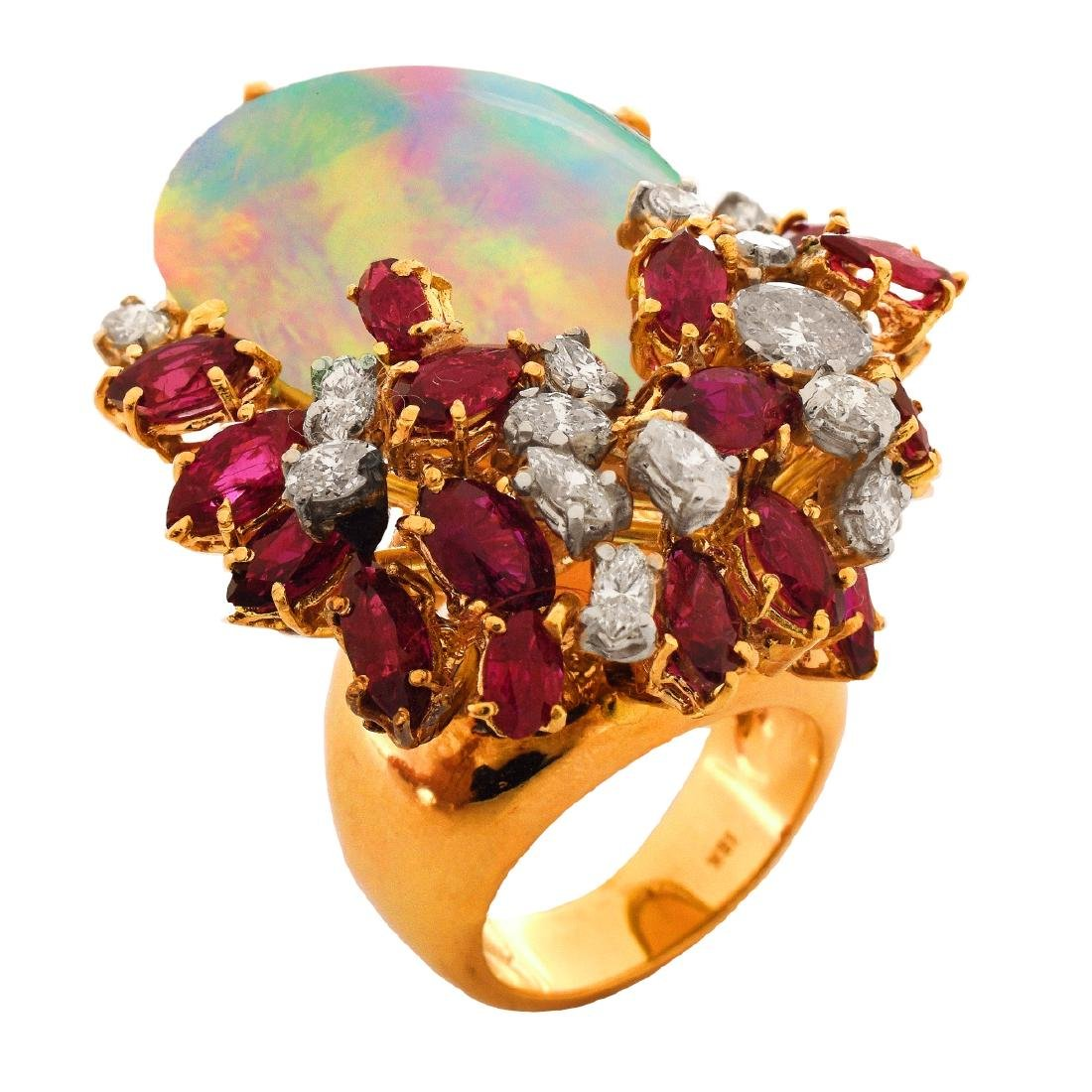 Vintage Opal, Ruby, Diamond and 18K Ring