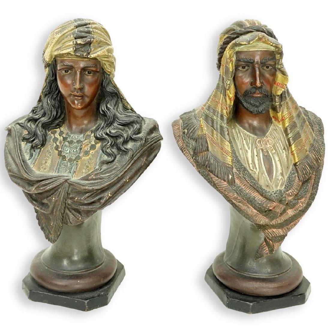 Pair of Polychrome Orientalist Bust Figures