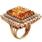 Citrine Diamond and 14K Ring