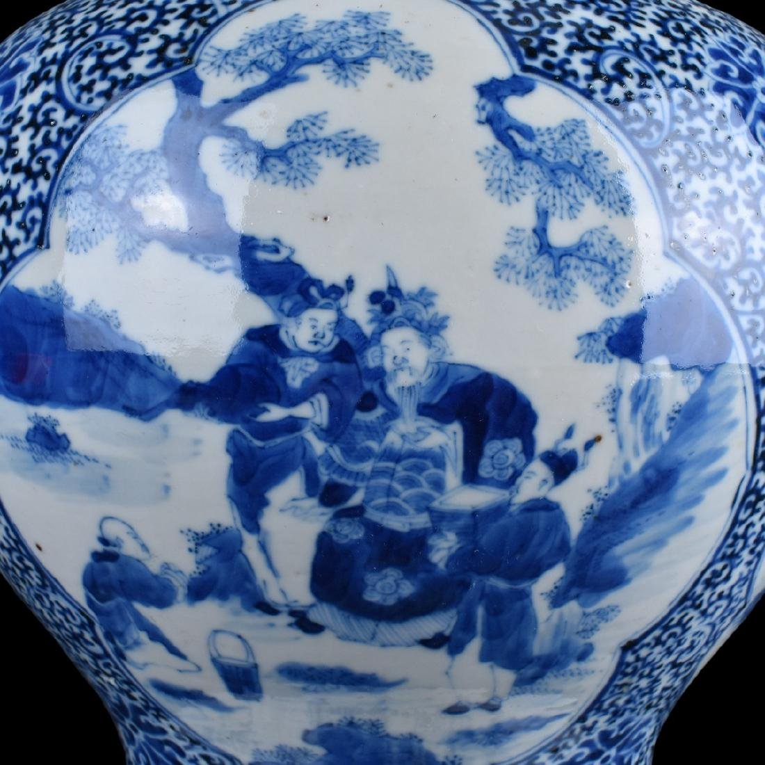 Pair of Chinese Blue and White Porcelain Jars - 4