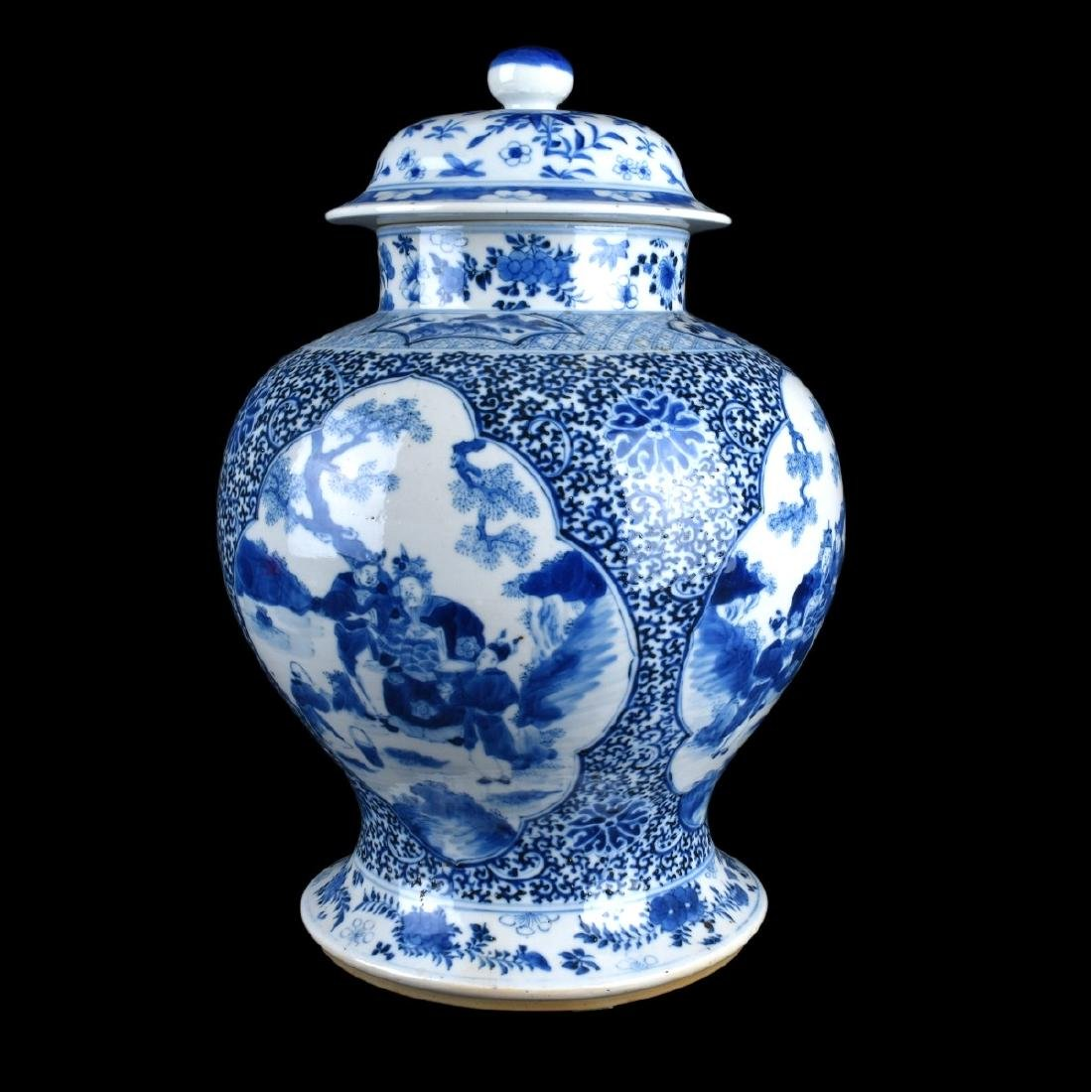 Pair of Chinese Blue and White Porcelain Jars - 5
