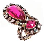 Antique Diamond Man Made Ruby, Silver & Gold Ring
