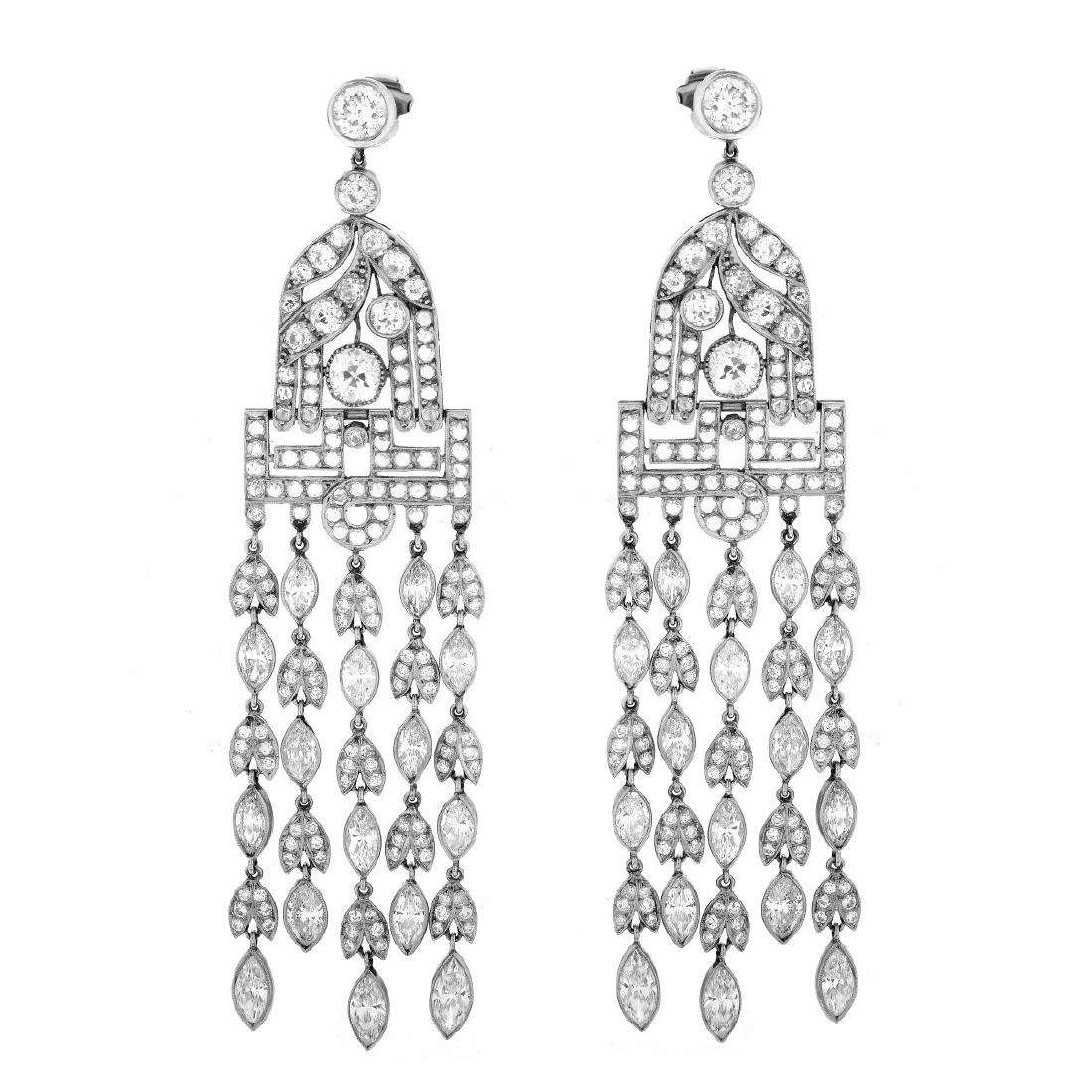 29.20ct TW Diamond and Platinum Earrings