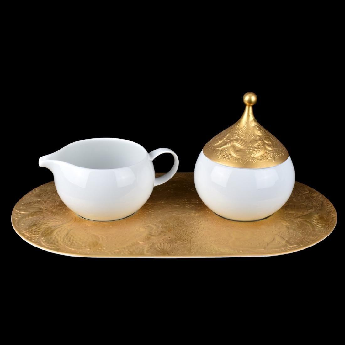 "Rosenthal ""Magic Flute Gold"" Creamer/Sugar/Tray"
