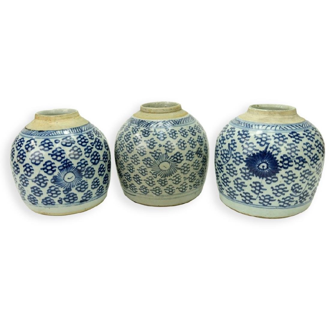 3 Antique Chinese Blue & White Porcelain Jars