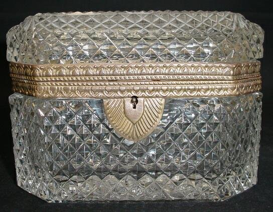 2: Early 20C French Crystal Vanity Box w/ Bronze Mounts