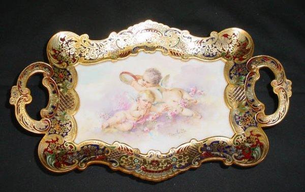 4: 19/20C Sevres Bronze Enamel Pen Tray Porcelain Plaqu