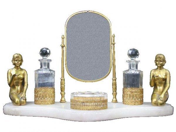 6: French Art Deco Bronze Onyx Perfume Stand w Baccarat