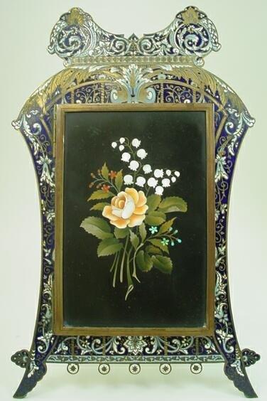 7: Champleve Enamel Frame Pietra Dura Plaque Door w Pho