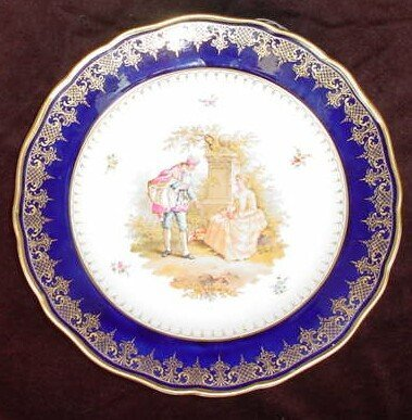 11: 19C Hand Painted Meissen Porcelain Lovers Cabinet P