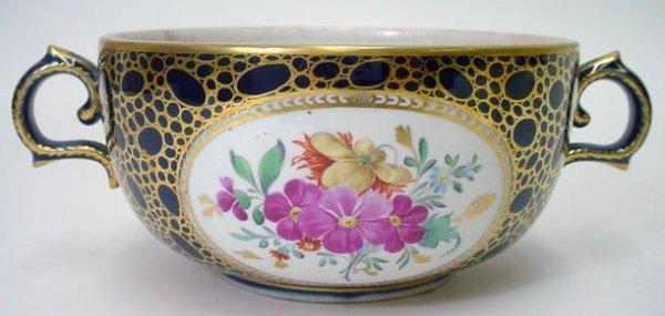 13: 18C Hand Painted Cobalt Blue Meissen Marcolini Bowl
