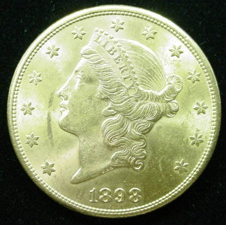 15: 1898-S 20 Dollar Double Eagle Gold Coin. Very Good
