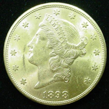 15: 1898-S 20 Dollar Double Eagle Gold Coin. Very Good