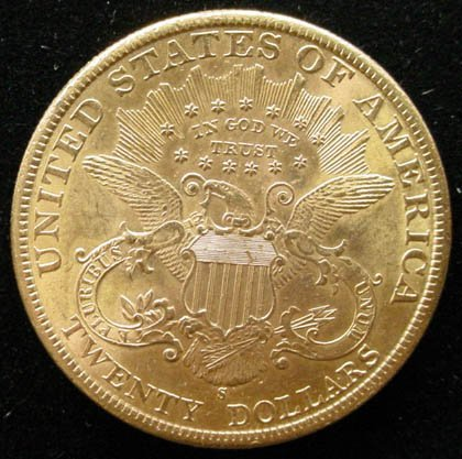15: 1898-S 20 Dollar Double Eagle Gold Coin. Very Good  - 2