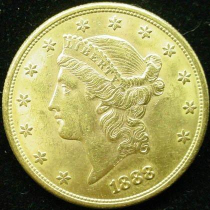 16: 1888-S 20 Dollar Double Eagle Gold Coin. Very Good