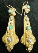 72 Pair of Antique Victorian 14K Gold Drop Earrings wi
