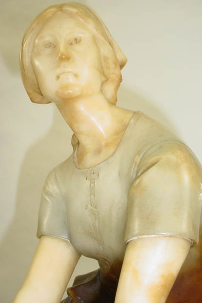 265: P. Conti Italy Alabaster Sculpture Joan of Arc Sig - 3