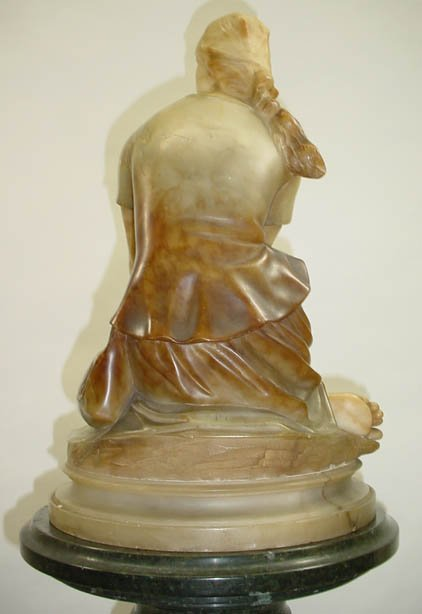 265: P. Conti Italy Alabaster Sculpture Joan of Arc Sig - 7