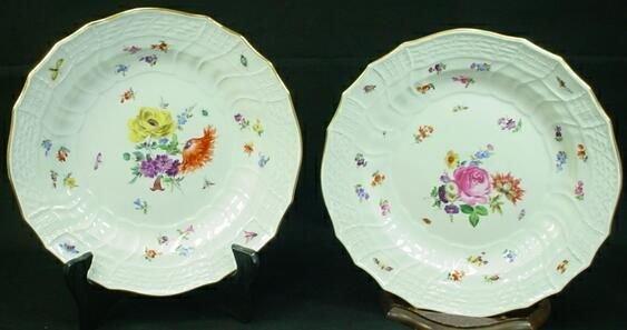 "14B: Meissen Porcelain Low Bowls ""Dresden Flowers"" Patt"