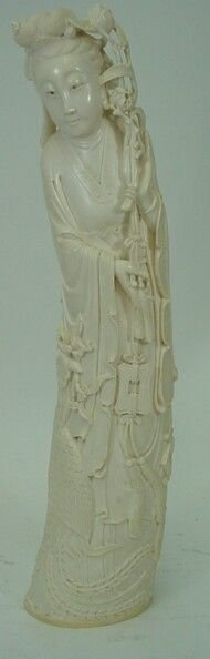 22A: Late 19C Hand Carved Chinese Ivory Figure Girl Hol