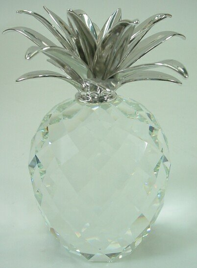 504: Swarovski Crystal Pineapple with Silver Top Paperw