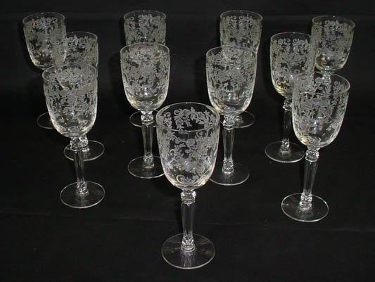 515: Set of Eleven (11) Fostoria Crystal Stemware Clare