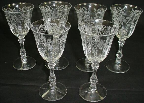 518: Set 6 Fostoria Crystal Stemware Wine Glass Meadow