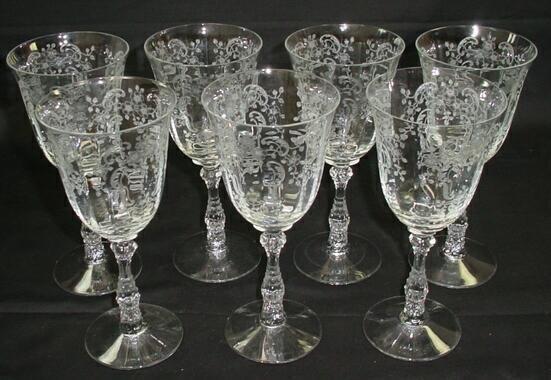 519: Set 7 Fostoria Crystal Stemware Water Goblets Mead