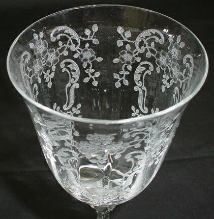 519: Set 7 Fostoria Crystal Stemware Water Goblets Mead - 4