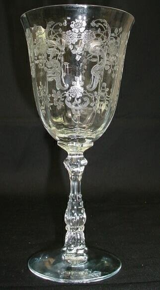 519: Set 7 Fostoria Crystal Stemware Water Goblets Mead - 5