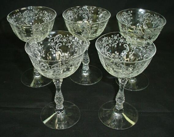 520: Set 5 Fostoria Crystal Champagne Meadow Rose