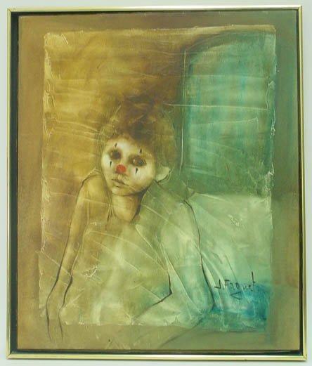 "742: J. Faguet 20th Century Mixed Media on Canvas ""Clow"