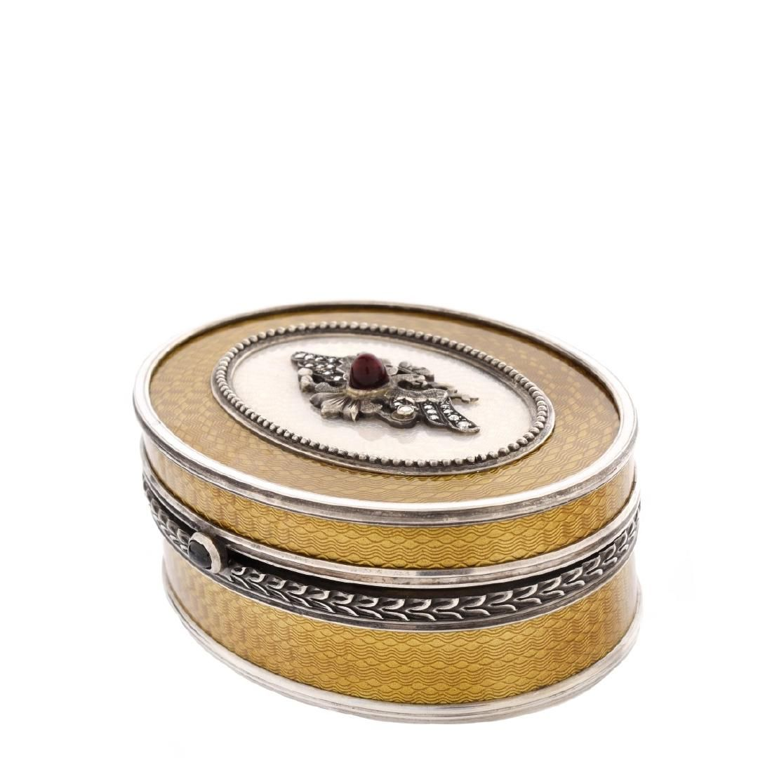 Russian Faberge Silver and Enamel Box