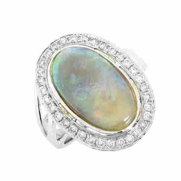 Black Opal, Diamond and 18K Gold Ring